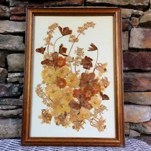 Vintage Dried Flowers Framed Boho Decor Wall Art